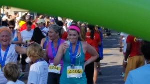 Trying to hold it together after crossing the finish line. Lachine 5km-August 2014